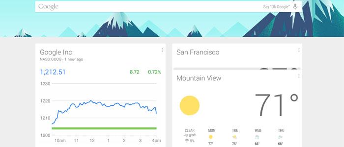 Una schermata di Google Now riportante l'andamento in borsa dei titoli selezionati e le previsioni meteo.