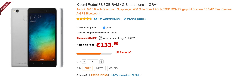 GearBest - Xiaomi Redmi 3S