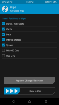 TWRP Wipe cache selector