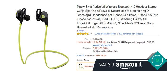 Prezzo Auricolari Bluetooth 4.0 su Amazon.