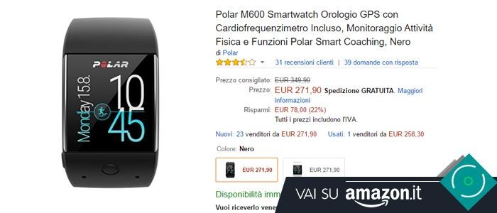 Prezzo Polar M600 su Amazon.