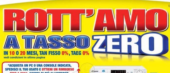 """Copertina del volantino Euronics col """"Rott'amo a tasso zero"""""""