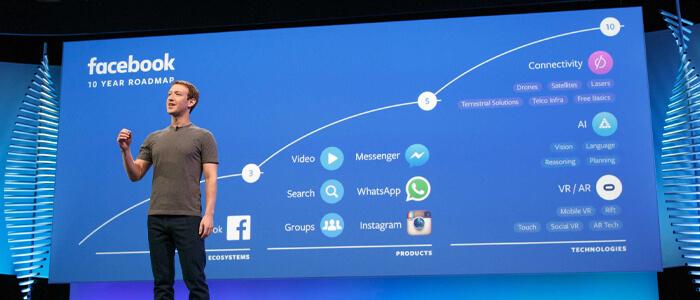 Lo sviluppo di Facebook prosegue tenendo conto di Messenger, Instagram e WhatsApp.