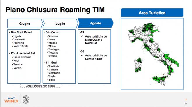 Mappa delle regioni di Tre per il piano di chiusura roaming TIM.