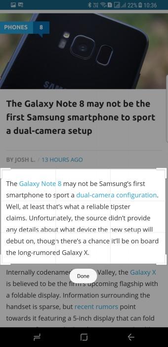 Samsung Galaxy S8 screenshot personalizzato GIF