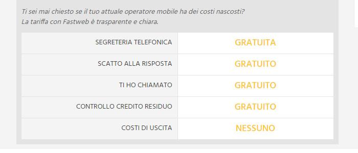 Servizi inclusi nelle nuove offerte Fastweb, trasparenza di costi.