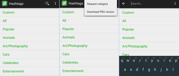 Una delle migliori app Android per gli hashtag Instagram in termini di semplicità.