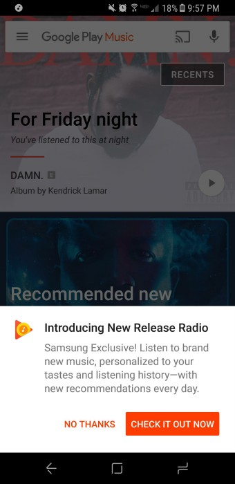 Google Play Music Samsung Galaxy S8