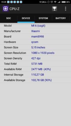 Mi 6 CPU-Z