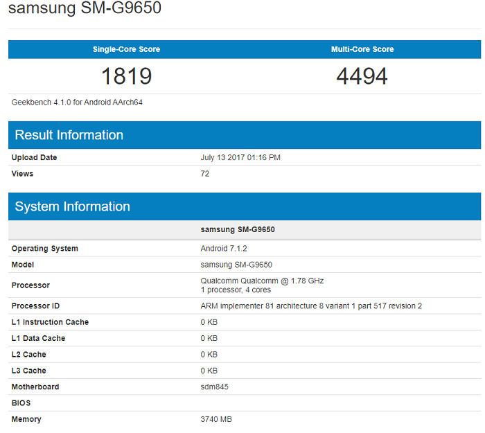 Samsung Galaxy S9 GeekBench
