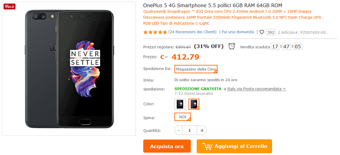 OnePlus 5 offerta TomTop 386 euro