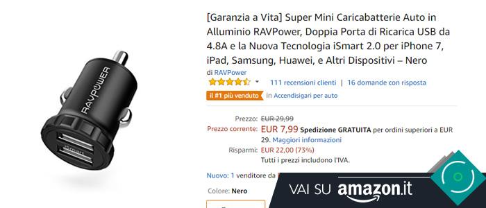 Prezzo caricabatterie RAVPower su Amazon.