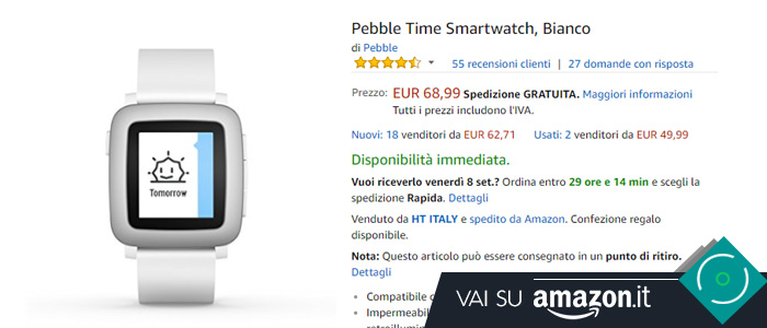 Prezzo Pebble Time su Amazon.