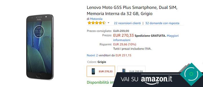 Prezzo Lenogo Moto G5S Plus su Amazon.