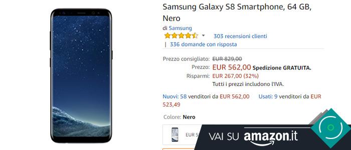 Prezzo Samsung Galaxy S8 su Amazon.