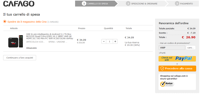 Scishion V88 Plus offerta Cafago