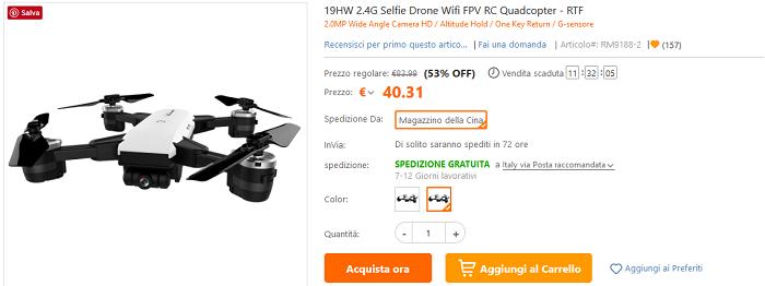19HW Selfie Drone offerta TomTop