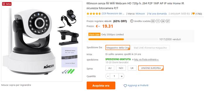 KKmoon IP Camera offerta TomTop