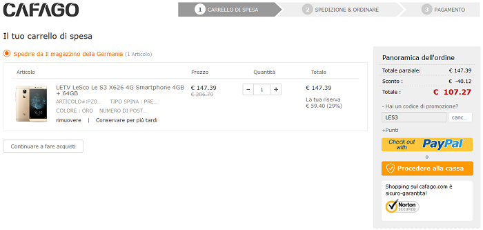 LeEco Le S3 X626 offerta Cafago