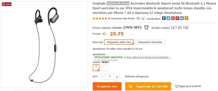 Xiaomi Mi Sport offerta Cafago