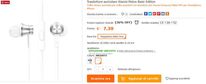 Xiaomi Piston Basic offerta Cafago