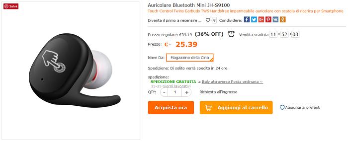 Auricolari true wireless JH-S9100 offerta Cafago