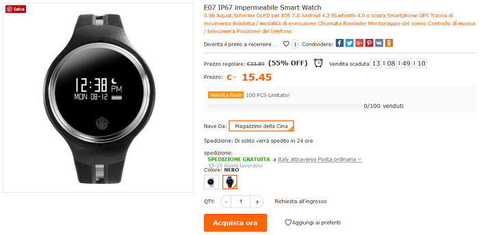 Smartwatch E07 offerta Cafago