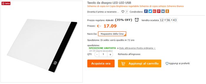 Tavola da disegno LED offerta Cafago