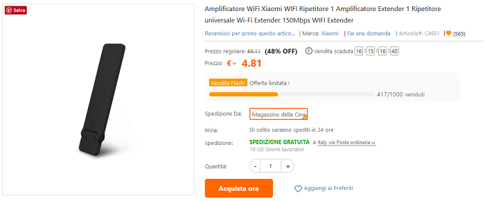 Xiaomi Mi Wi-Fi Amplifier flash sale TomTop