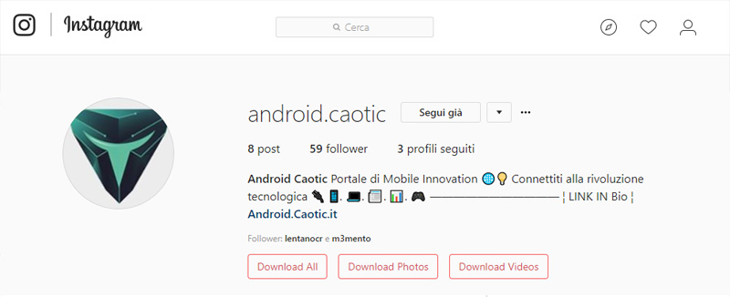 Scaricare foto e video Instagram