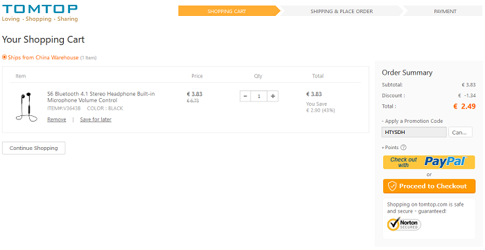 Auricolari Bluetooth S6 offerta TomTop