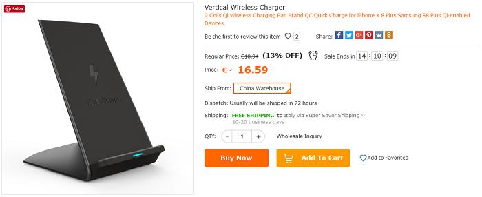 Caricatore Wireless verticale offerta Cafago
