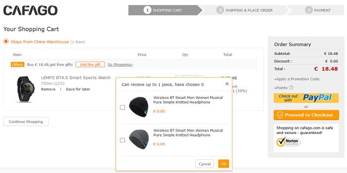 Sportwatch LEMFO offerta Cafago cappello auricolari Bluetooth