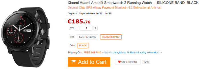 Huami Amazfit Pace 2 offerta GearBest