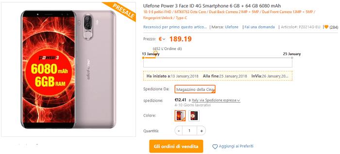 Ulefone Power 3 pre-ordine TomTop