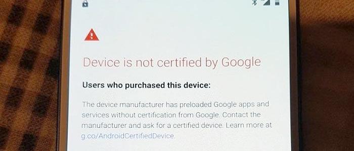 Dispositivi non certificati Google