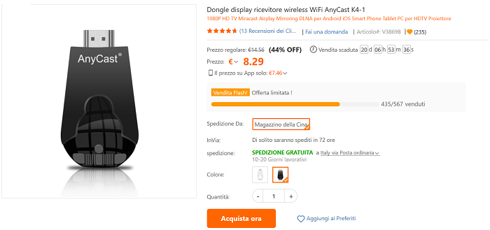 Dongle ricevitore Wi-Fi offerta TomTop