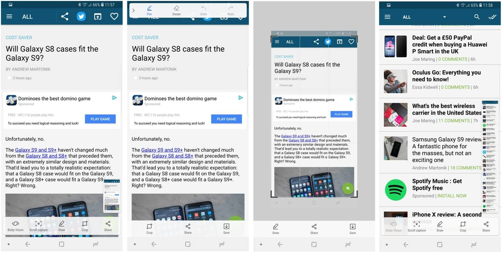 Screens fare uno screenshot su Galaxy S9 e Galaxy S9 Plus