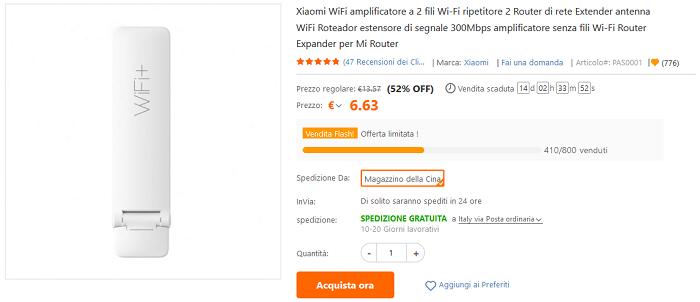 Xiaomi Mi Wi-Fi Amplifier 2 offerta lampo TomTop