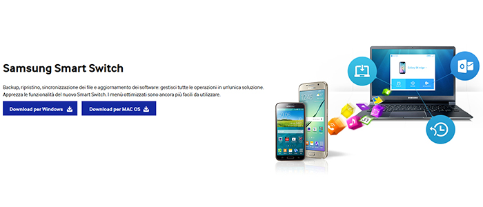 aggiornamenti software smartphone Samsung Smart Switch