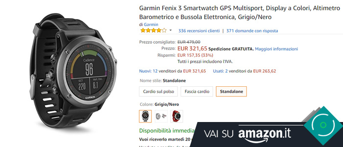 Prezzo Amazon Garmin Fenix 3