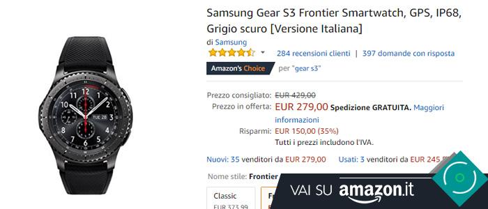 Prezzo Amazon Samsung Gear S3 Frontier