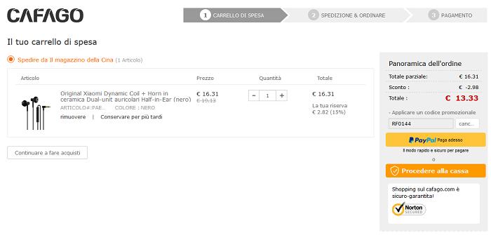Auricolari Xiaomi Dynamic Coil offerta Cafago
