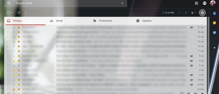 Visualizzazione Compact Gmail