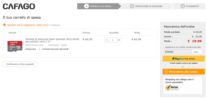 SanDisk Ultra micro SD 64 GB offerta Cafago
