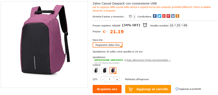 Zaino casual offerta Cafago
