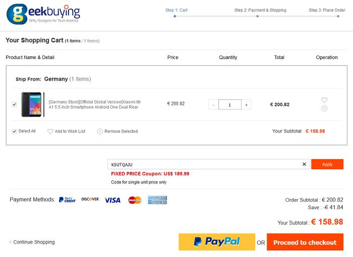 Xiaomi Mi A1 offerta Geekbuying 159 euro