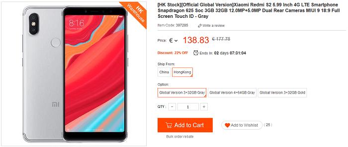 Xiaomi Redmi S2 offerta lampo Geekbuying