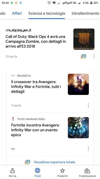 Titoli di Google News