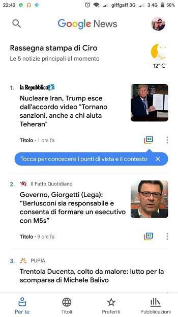 Per Te di Google News